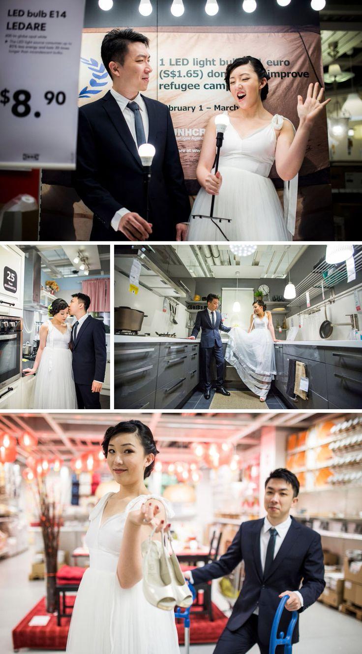 Fun and creative Singapore prewedding shoot in ikea