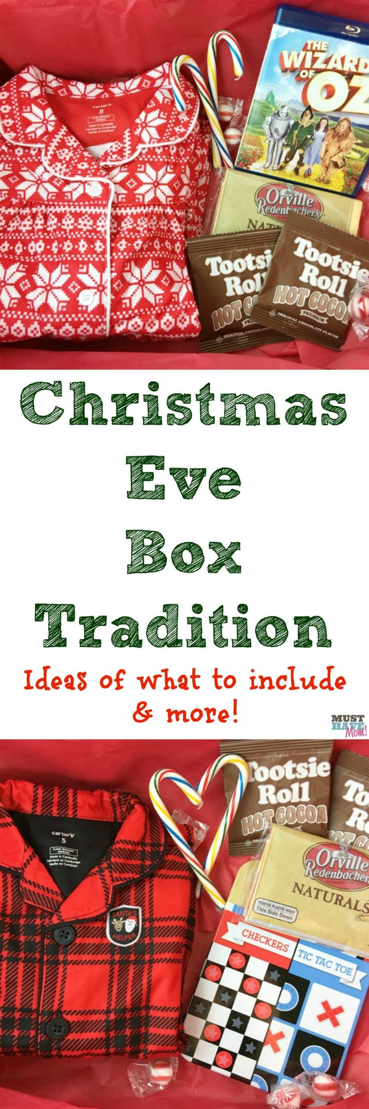 Awesome Christmas Traditions idea! Kids Christmas Eve boxes to open on the night before Christmas! List of what to include and ideas!
