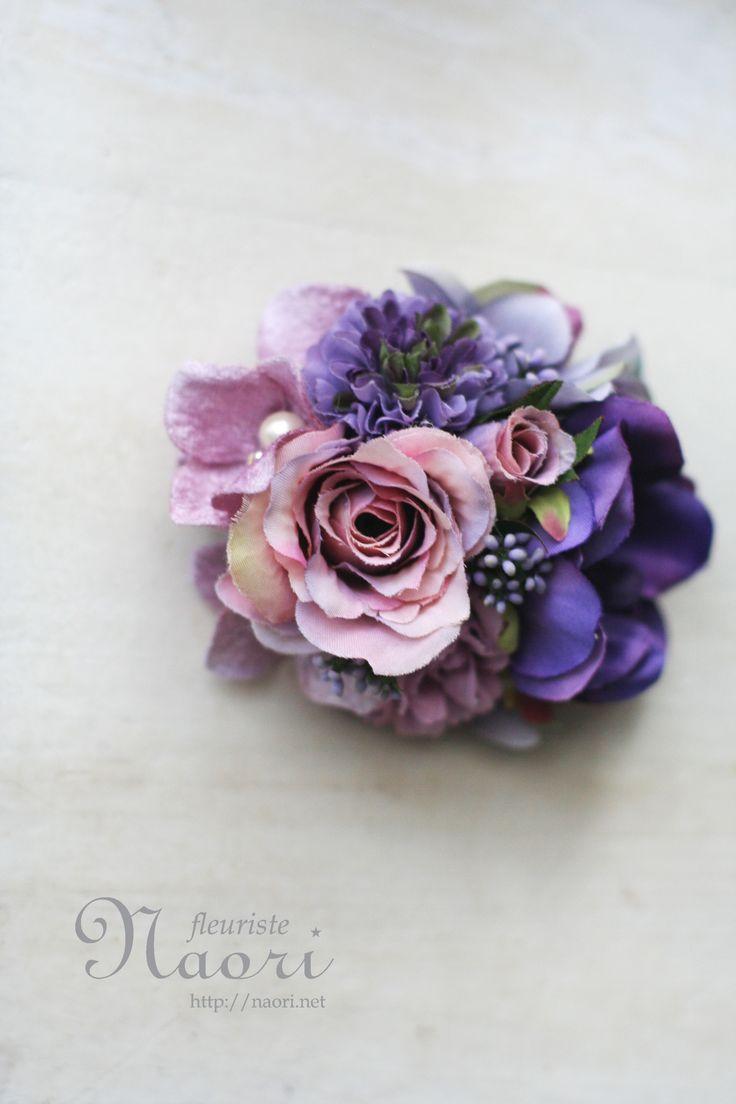 Rose and Anemone corsage Blue × Purple ローズとアネモネのコサージュ ブルー×パープル