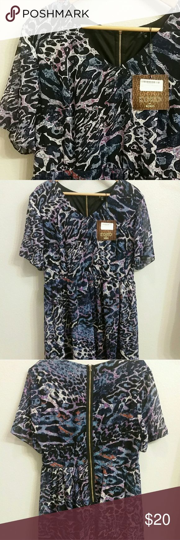 Chiffon Skater Dress Plus sized women's purple animal print chiffon skater dress; fully lined; zip up in back; purple/blue/black; short-sleeved; 100% poly; European (UK) size 20, NWT (price removed) (last photo is a stock photo only to convey fit, not color) Koko by Koko Dresses