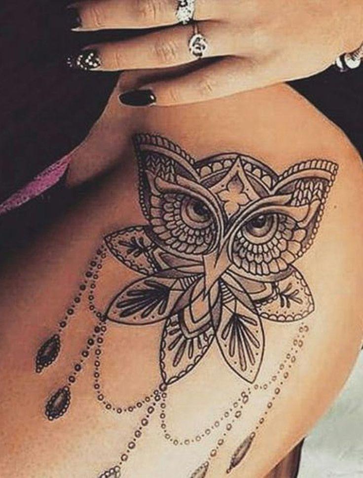 Lotus Owl Hip Tattoo Ideas for Women - Geometric Snowy Bird Thigh Leg Tat - Black Nail Art 2017 - MyBodiArt.com