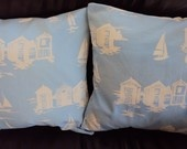 Throw pillow blue beach huts and boats pattern Cushion covers cases shams UK designer fabric Two 18 x 18  inch handmade: Cushion Covers, Blue Beach, Beach Huts, Throw Pillows