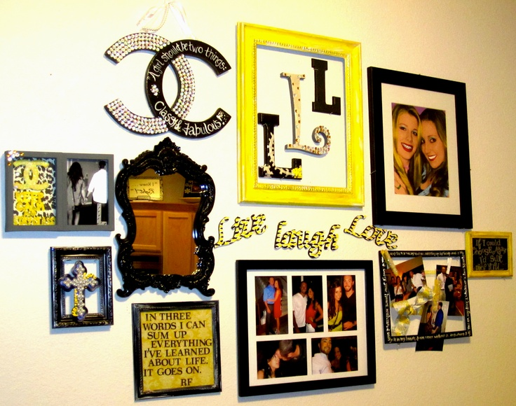 Black, white and yellow picture frames, wooden cut outs I painted or created, and quotes I love to make up a wall decoration.  Mix and match decoration items to create a collage for the room's center focus, while keeping the same color scheme to make sure everything matches!