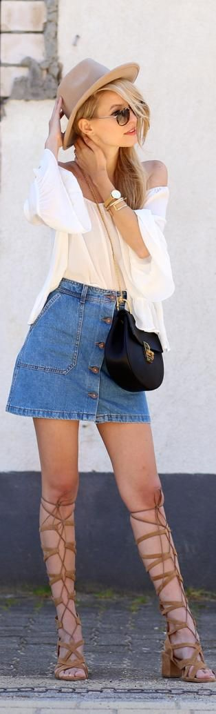 Off The Shoulder & Denim Skirt / Fashion by Ohh Couture