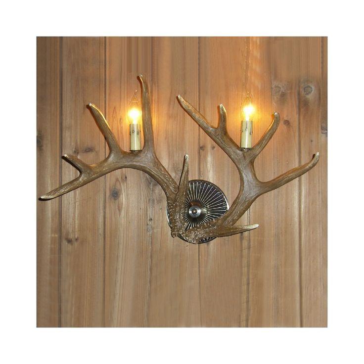 鹿角壁掛けライト ウォールライト 壁掛け照明 玄関照明 樹脂製 茶褐色 2灯 LED対応