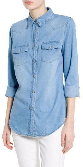 $59, Mango Outlet Light Denim Shirt. Sold by Mango. Click for more info: https://lookastic.com/women/shop_items/190823/redirect