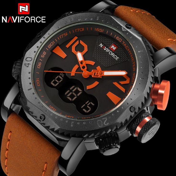 men sport watches dual display watch NAVIFORCE brand men LED digital analog clock orange quartz watch 30M waterproof male clock http://ali.ski/vOVxb3 #watch #maleclock #formen #clock
