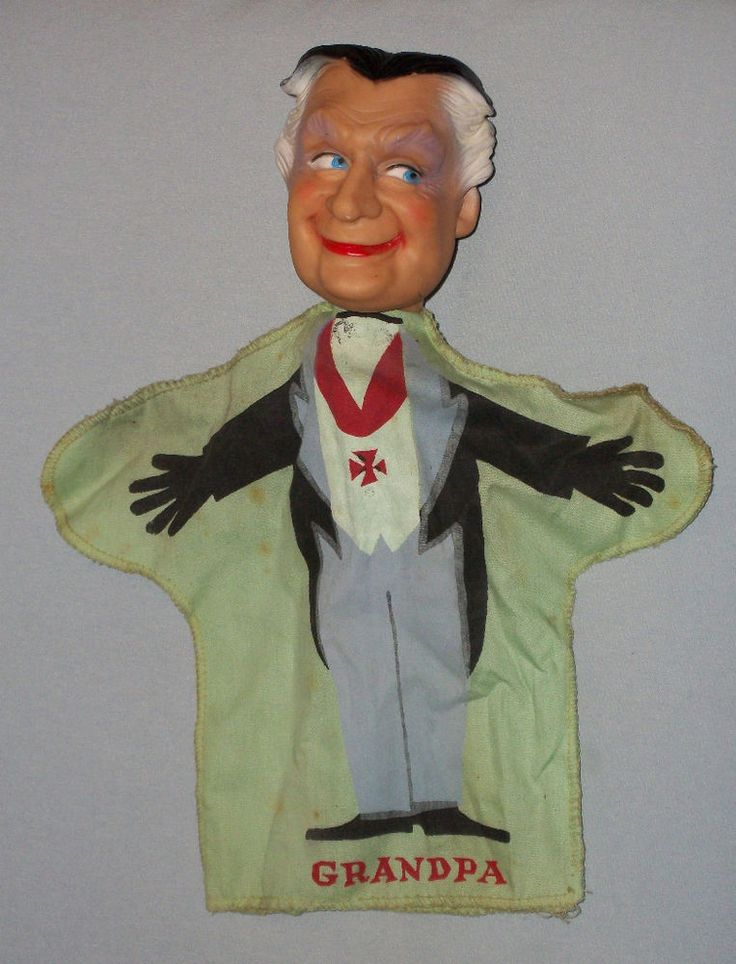 vintage 1964 The Munsters GRANDPA MUNSTER hand puppet (green)