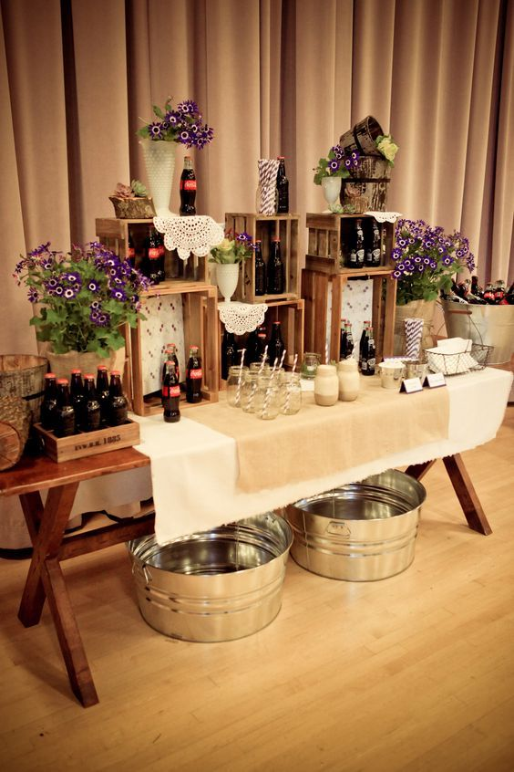 rustic country indoor wedding drink bar / http://www.deerpearlflowers.com/country-wooden-crates-wedding-ideas/