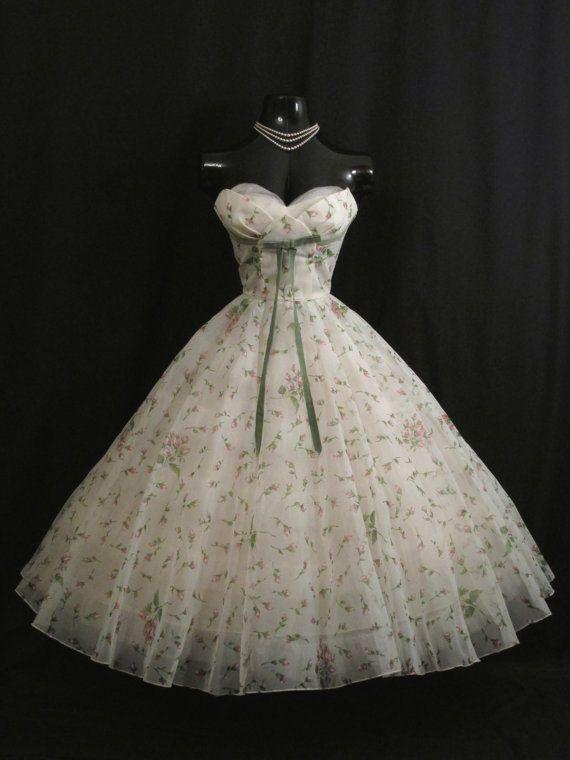 Vintage 1950's 50s STRAPLESS Lorrie Deb White by VintageVortex: