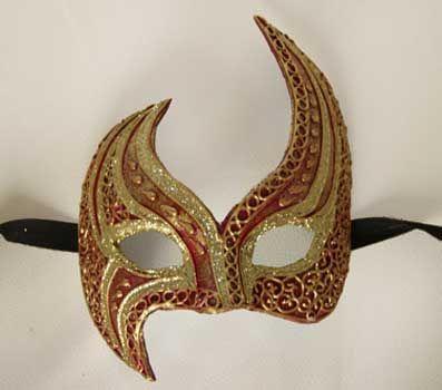 Doppi aluna rosso e oro V24 -Maschera  originale venezianarealizzata interamente a mano, in cartapesta e decorata con colori acrili e glitter.