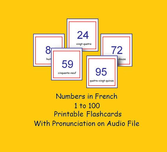 FRENCH NUMBER FLASHCARDS 1/100 with Pronunciation on Audio File