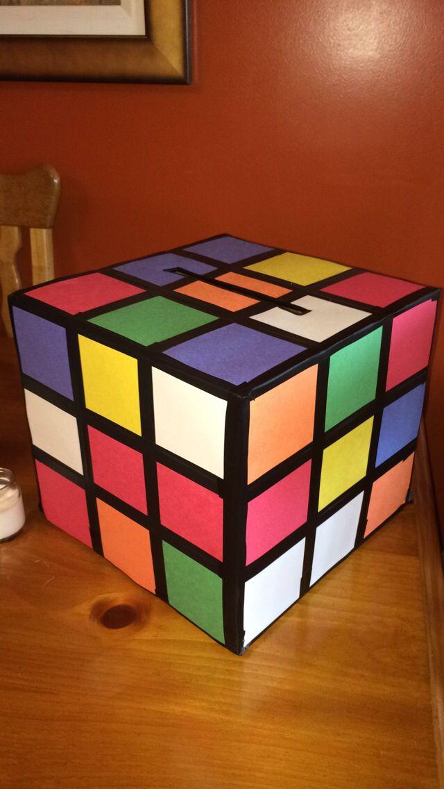 DIY Rubix Cube card box for graduation party :)