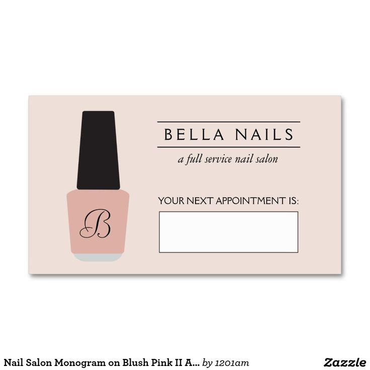 Nail Salon Monogram on Blush Pink II Appointment Business ...