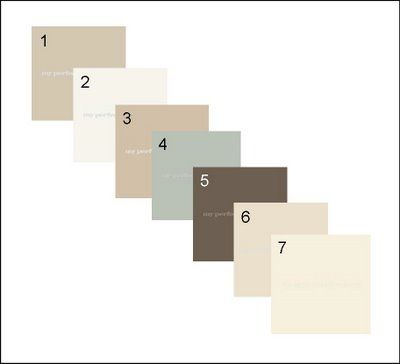 All paint is Benjamin Moore: 1. Revere Pewter HC-172 - KITCHEN 2. Chantilly Lace OC-65 - TRIM/CEILINGS 3. Ranchwood CC-500 - LIVING ROOM/STAIRWAY/HALLWAY 4. Wedgewood Gray HC-146 - MASTER BEDROOM 5. Gray 2121-10 - MASTER BEDROOM FURNITURE 6. Ballet White OC-9 - GUEST BEDROOM 7. Snowball OC-52 - BATHROOM