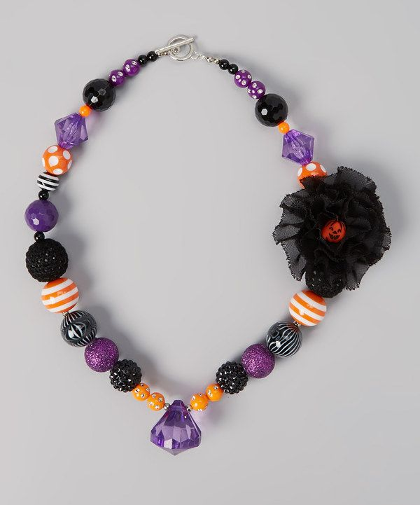 Take a look at this Purple & Black Pumpkin Necklace on zulily today!
