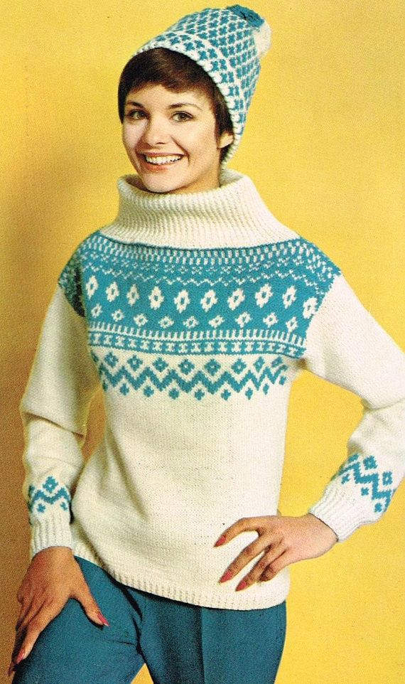 Vintage Knitting Pattern Womens Patterned Sweater Hat Etsy Pattern Sweater Vintage Knitting Patterns Sweaters