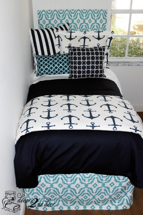 Nautical navy and blue teen bedding. Anchor bedding. We love this preppy and coastal teen room. Custom geometric headboard, nautical stripes and anchor fabric. Set sail with this gorgeous teen room bedding set!!