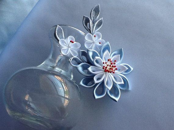 Hair Clip - Baby Blue Light Blue White Silver Kanzashi Flowers Hair Accessories Wedding Flowers