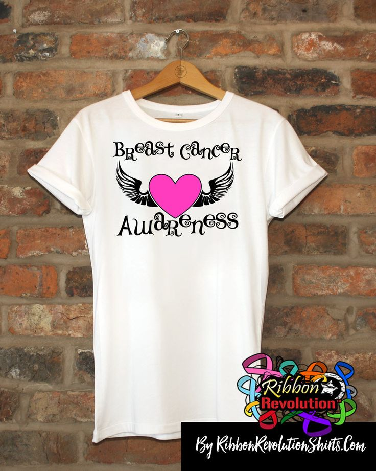 Breast Cancer Awareness Heart Tattoo Wing Shirts