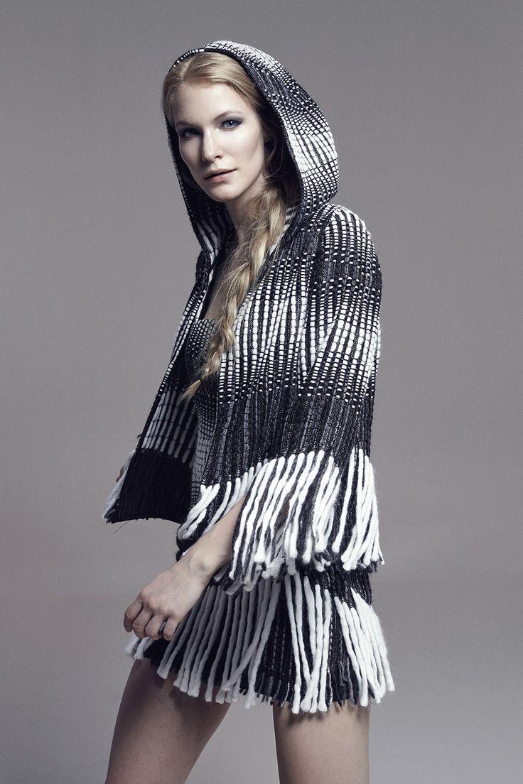STEVIE - Hooded & Fringed Quarter-Sleeve Tweed Jacket
