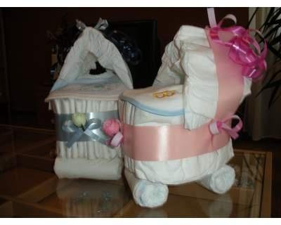 Torta di Pannoli, Culla pannolini Pampers, rosa o azzurro a scelta!
