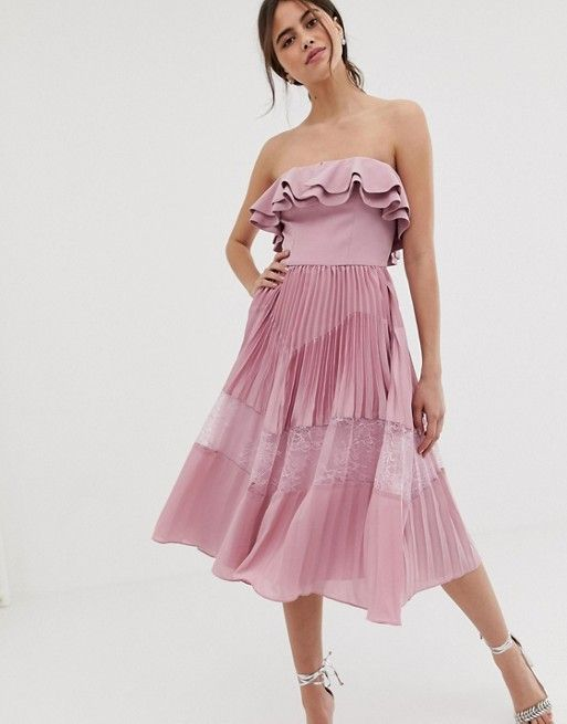 true decadence premium sleeveless dress with ruffle trim and lace