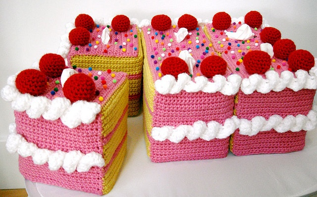 strawberry and cream pink vanilla crochet cake, cut up in pieces, so adorable!