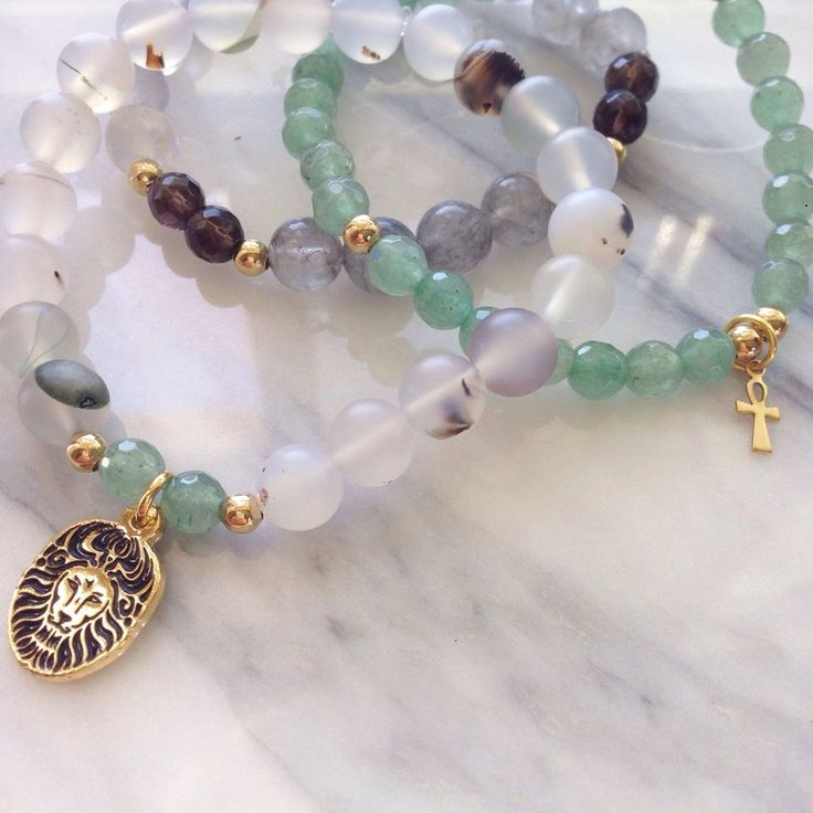 """Beautiful Aventurine, Quartz and Agate """"Inner Wealth"""" Bracelet Stack by #MikaMalas. Feel grounded protection as you use expansive communication to manifest prosperity and grace in your life. Inspired by the compassionate expression of the Goddess Quan Yin,"""