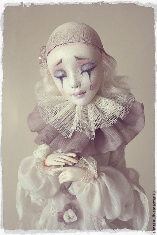 Влюбленный Пьеро - белый,молочный,пепельно-розовый,пьеро,авторская кукла
