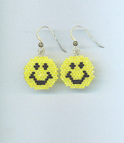 Smiley Face earrings in Brick Stitch with by earthlytreasures, $12.00