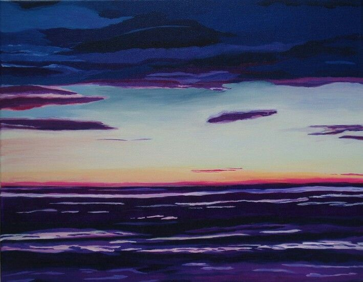 Purple sea by marjacq.art. on canvas.