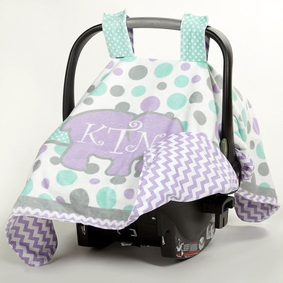 Babys Multi Dot Elephant Minky Chevron Initial Carseat Cover