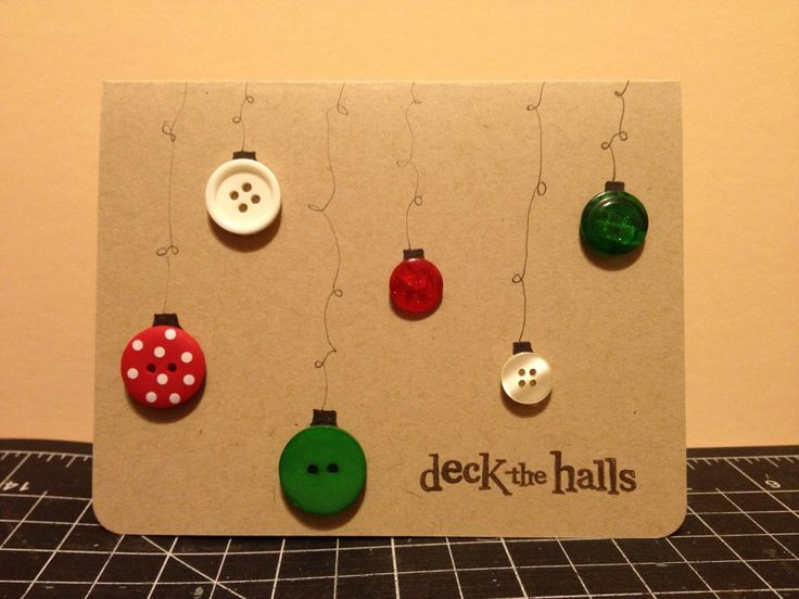 Simple button homemade deck the halls christmas card my for Christmas ideas for christmas cards