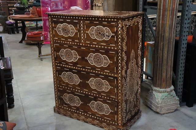Bone inlaid chest of drawers mediterranean buffets and sideboards