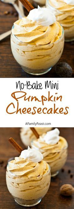 No Bake Mini Pumpkin Cheesecakes - So simple to make and so delicious! (There's a good reason this recipe has been pinned over 300,000 times!)