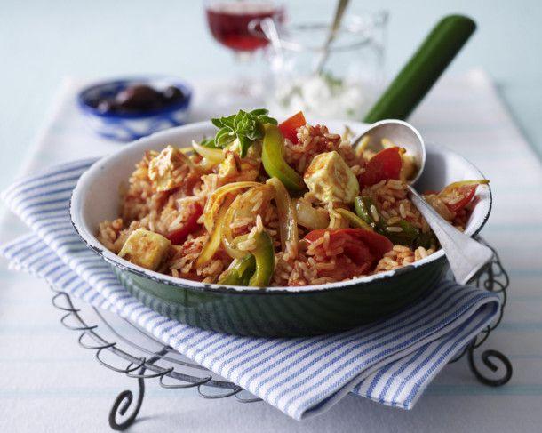 Unser beliebtes Rezept für Griechische Reispfanne mit Paprika, Tomaten, Schafskäse und Knoblauchdip und mehr als 55.000 weitere kostenlose Rezepte auf LECKER.de.