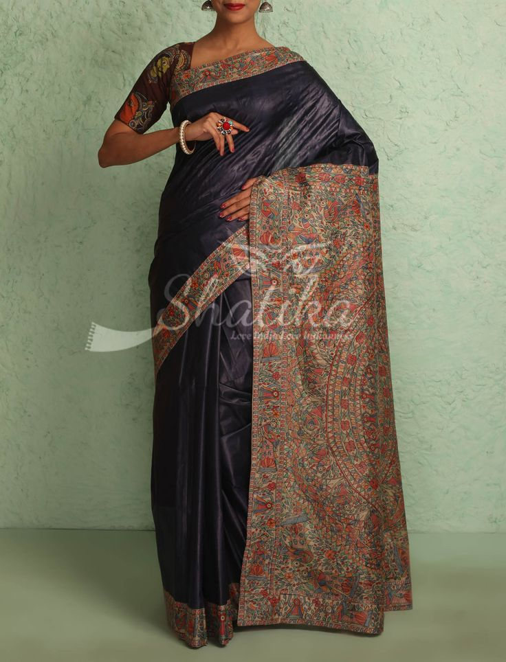 Maithali Plain Navy Blue With Intricate Handpainted Border Pallu Madhubani Silk Saree