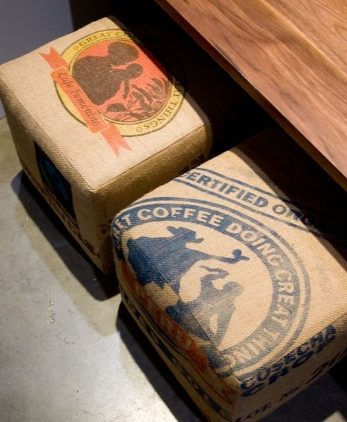 Upcycled Fair Trade Coffee Bag Ottoman -by GUS