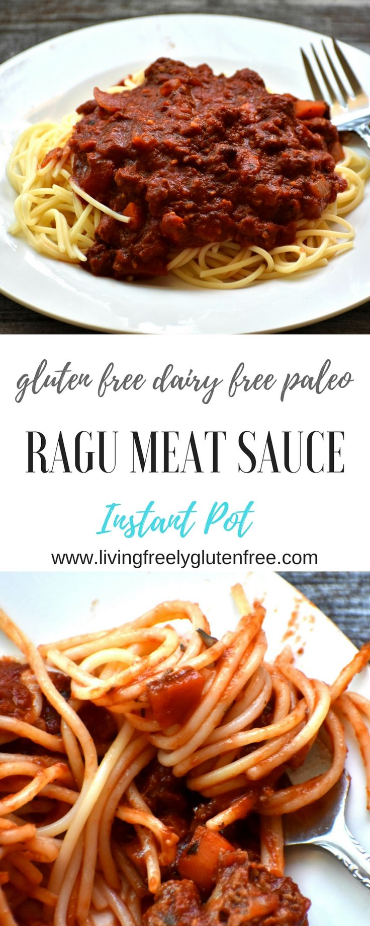 This simple but healthy and delicious meat sauce is gluten free, dairy free and paleo. It is made in the Instant Pot. www.livingfreelyglutenfree.com