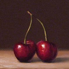 Oil pastel cherries
