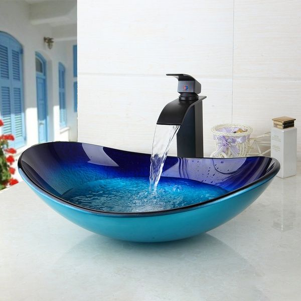 Wish | Blue Ocean bathroom sink Oval bowl basin with black mixer combo faucet set (Color: Blue)