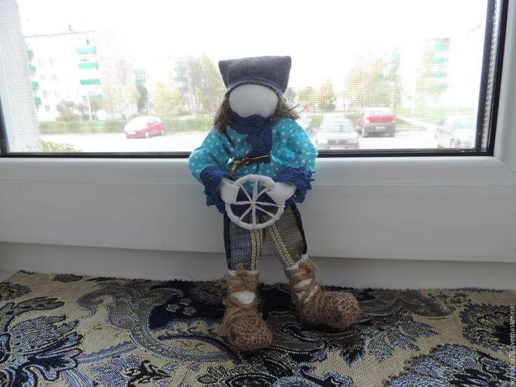 """Купить Кукла-оберег """"Спиридон -Солнцеворот"""" - морская волна, колесо, удача, благосостояние, солнцеворот, лён"""