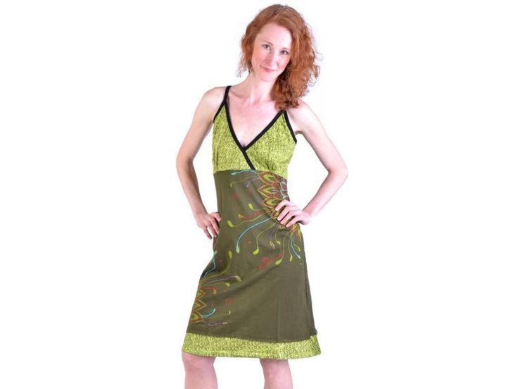 Khaki-zelené krátké šaty na ramínka, potisk a výšivka