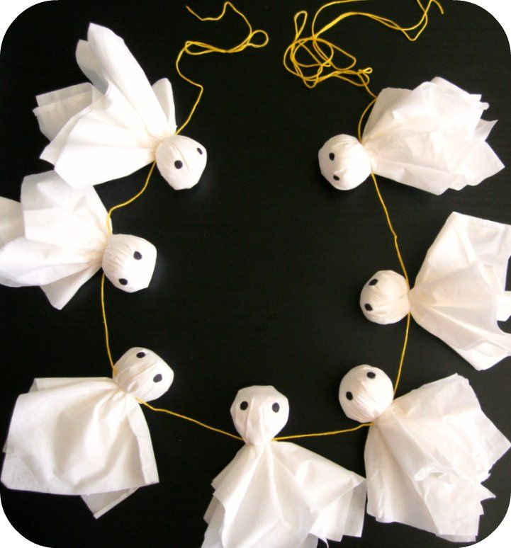Here's a quick and easy-to-follow photo tutorial on how you can make your own Ghostie Boo Garland ! Tissues (2 for each ghost, layer...