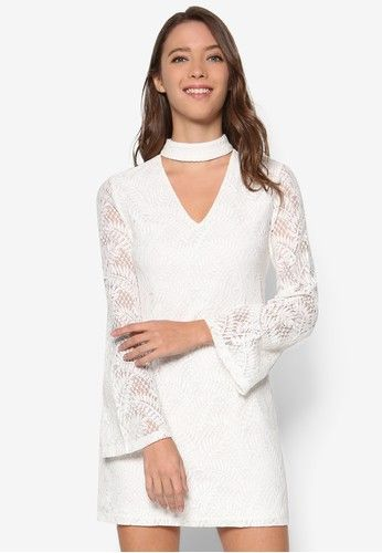Love Bell Sleeves Dress from ZALORA in white_1