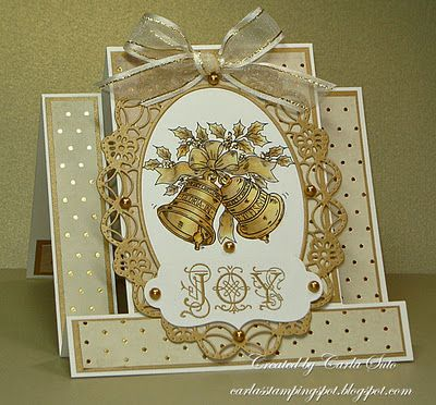 "I like the design of this card... but I would turn it into a ""Wedding"" style card instead. Carla's Stamping Spot: Lovely Christmas card in golds with bells and ""joy""."
