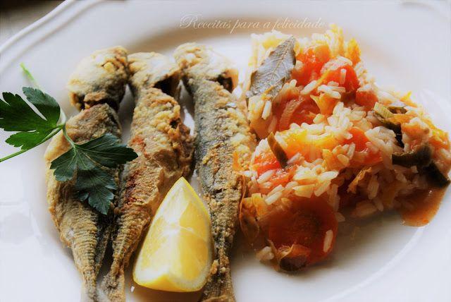 Receitas para a Felicidade!: Carapaus Fritos com Arroz de Tomate e Legumes