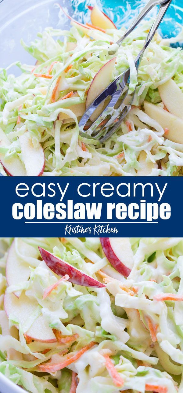 The Best Creamy Coleslaw Recipe And So Easy To Make The Perfect Side Dish For Summer Bbqs And A Coleslaw Recipe Easy Easy Coleslaw Pulled Pork Coleslaw Recipe