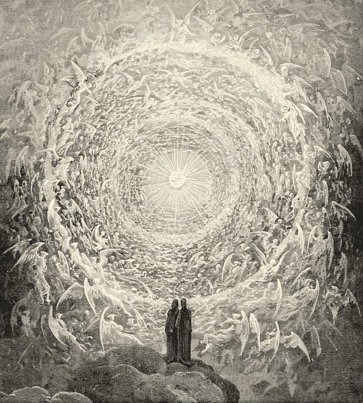 "Gustave Doré's woodcut of the ""Celestial Rose""--an illustration near the end of Dante's Paradiso."